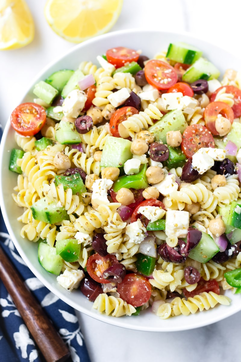 Greek Rotini Pasta Salad with Chickpeas