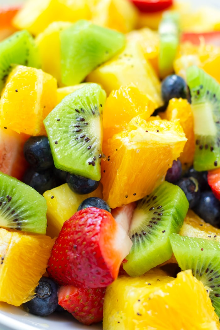 Kiwi and Strawberry Fruit Salad with Orange Poppy Seed Dressing