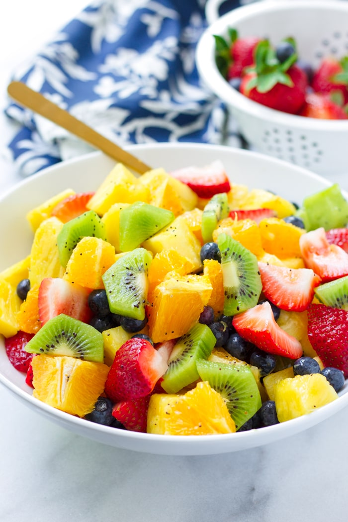 Mixed Fruit Salad with Orange Poppy Seed Dressing
