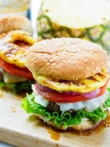 Hawaiian Burgers with Griled Pineapple and Teriyaki Sauce