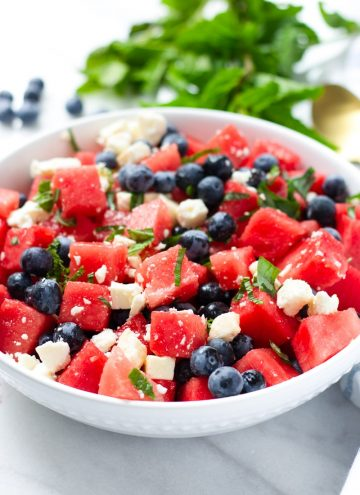 Watermelon Feta Salad with Blueberries and Mint