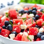 Watermelon Blueberry Salad with Mint, Basil, and Feta