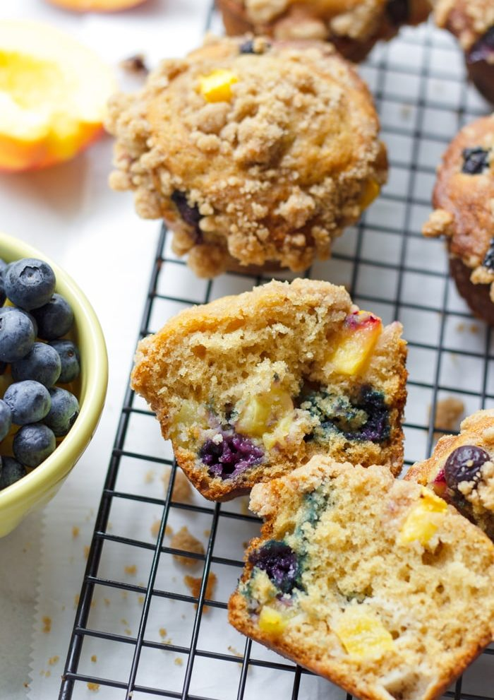 Blueberry Muffin Cut in Half with Peaches