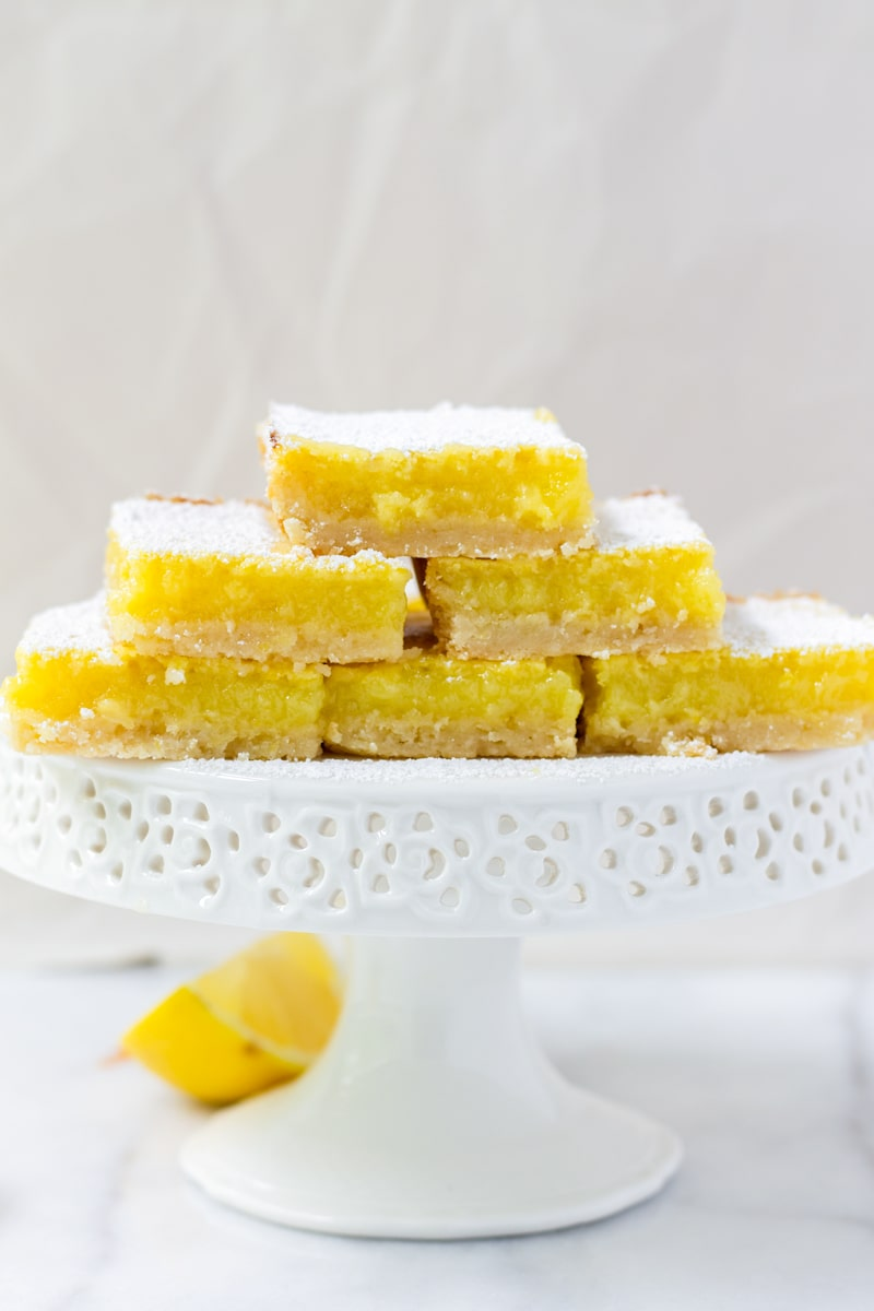 Baked Lemon Bars on a Cake Stand