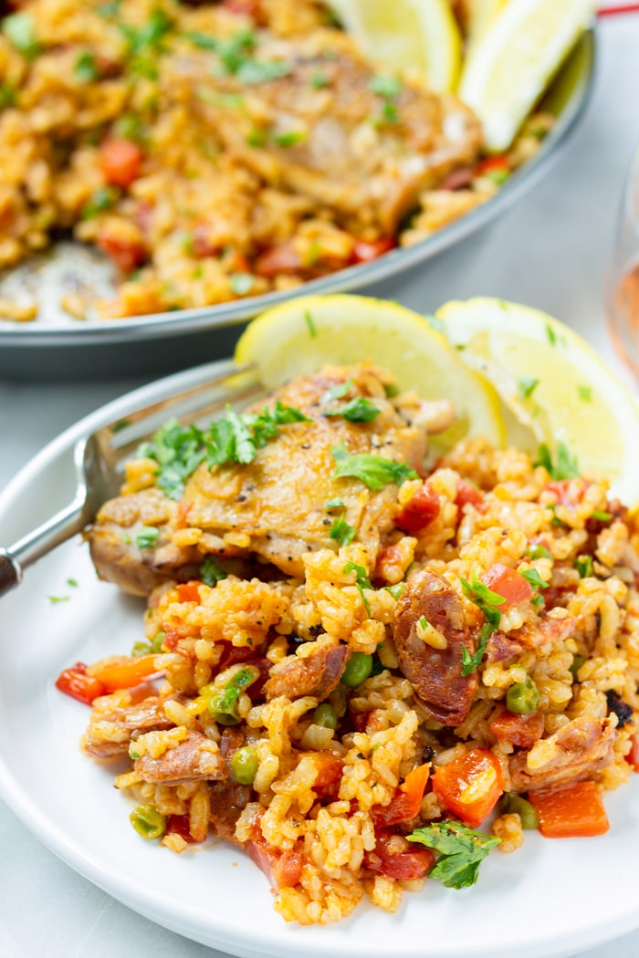 Spanish Paella Dish with Saffron and Sofrito