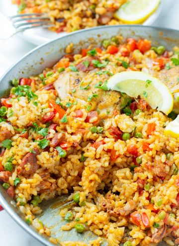 Traditional Chicken and Chorizo Paella on Paella Pan