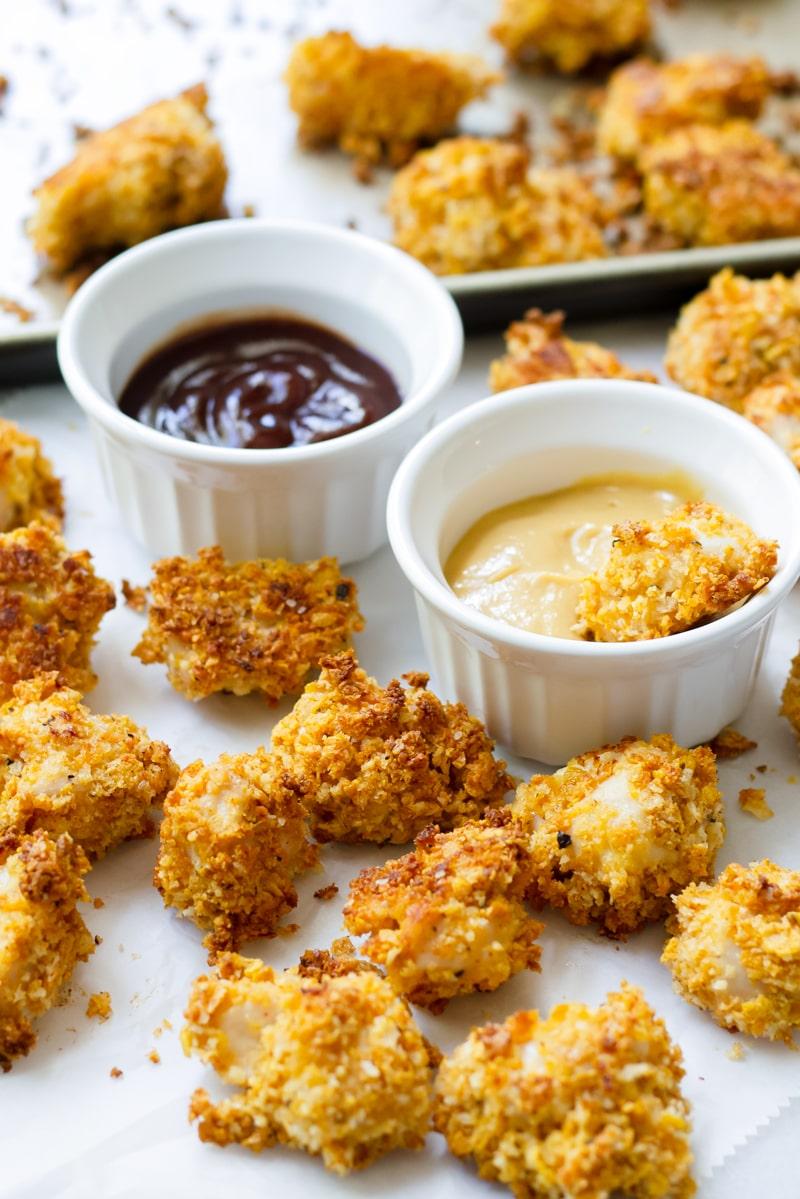 Easy Baked Popcorn Chicken Recipe with Honey Mustard Sauce