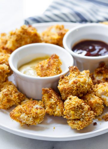 Plate of Oven Baked Chicken Bites with Honey Mustard Sauce