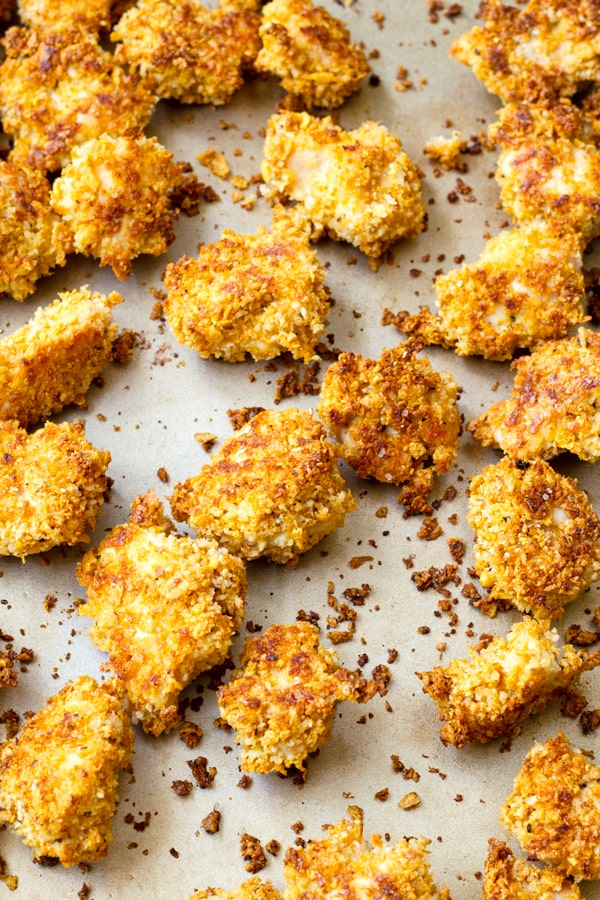 Oven Baked Parmesan Chicken Bites on Sheet Pan