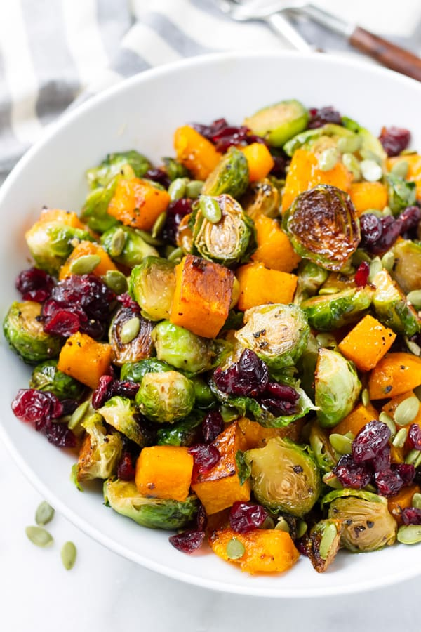 Butternut Squash and Brussel Sprouts Roasted with Maple