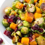 Butternut Squash and Brussel Sprouts Roasted with Maple with Pumpkin Seeds