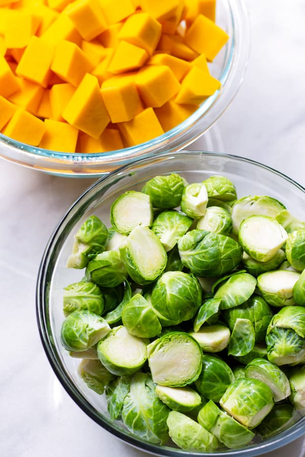 Cut Up Butternut Squash and Brussels Sprouts