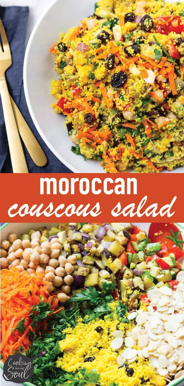 Moroccan Couscous Salad with Chickpeas and Tossed with Dressing