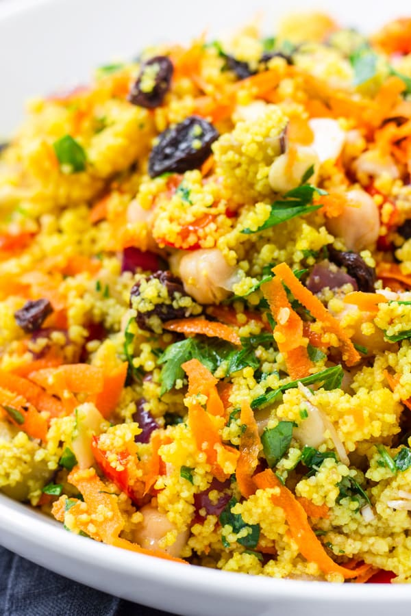 Easy Moroccan Couscous with Raisins and Roasted Vegetables
