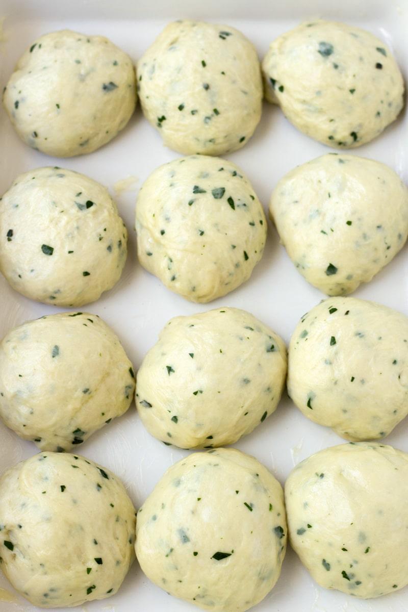 Bread Dough Resting for Herb Dinner Rolls