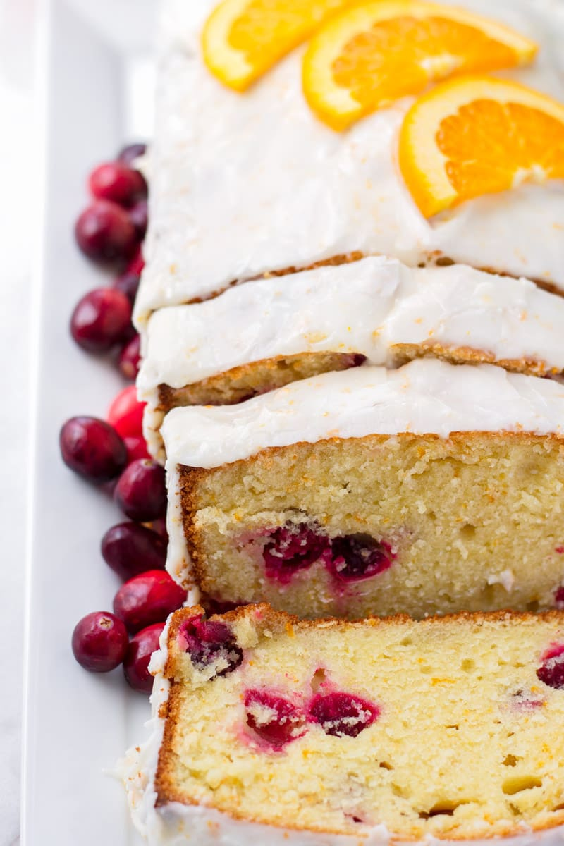 Orange Pound Cake Mixed with Cranberries