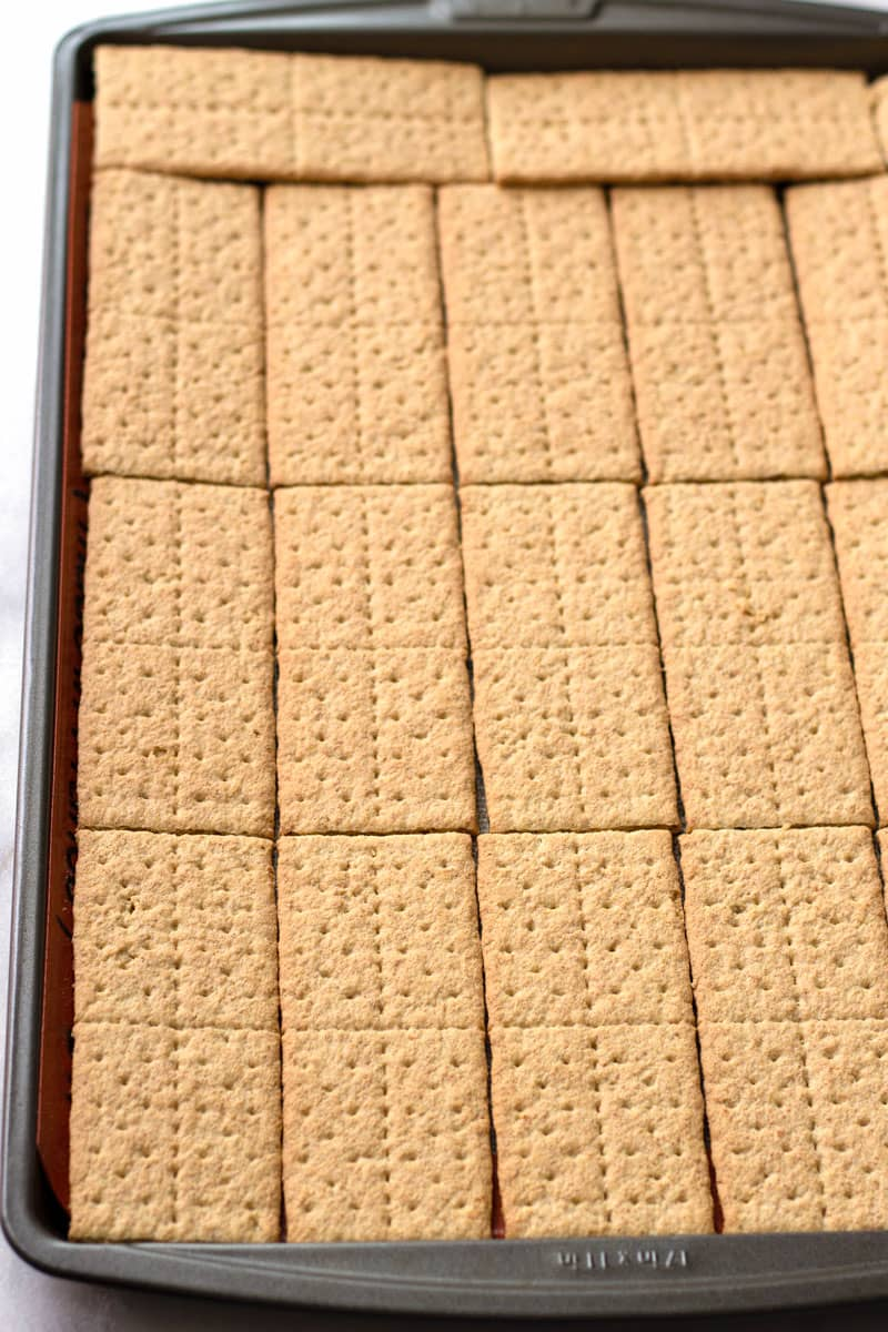 Graham Cracker Sheets Lined Up on Silpat Mat