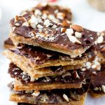 Easy Graham Cracker Toffee Bars with Almonds Stacked