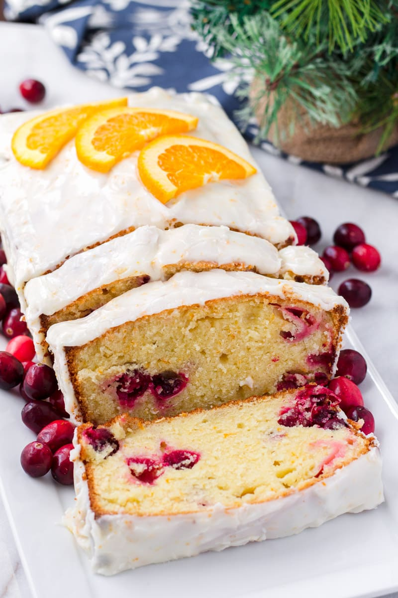 Easy Cranberry Orange Pound Cake with Thick Icing