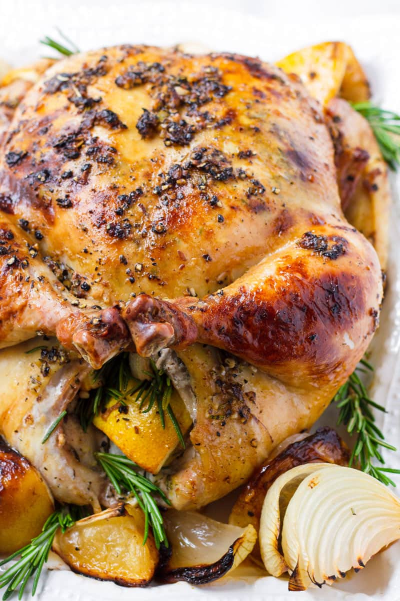 Roasted Whole Chicken with Lemon and Rosemary