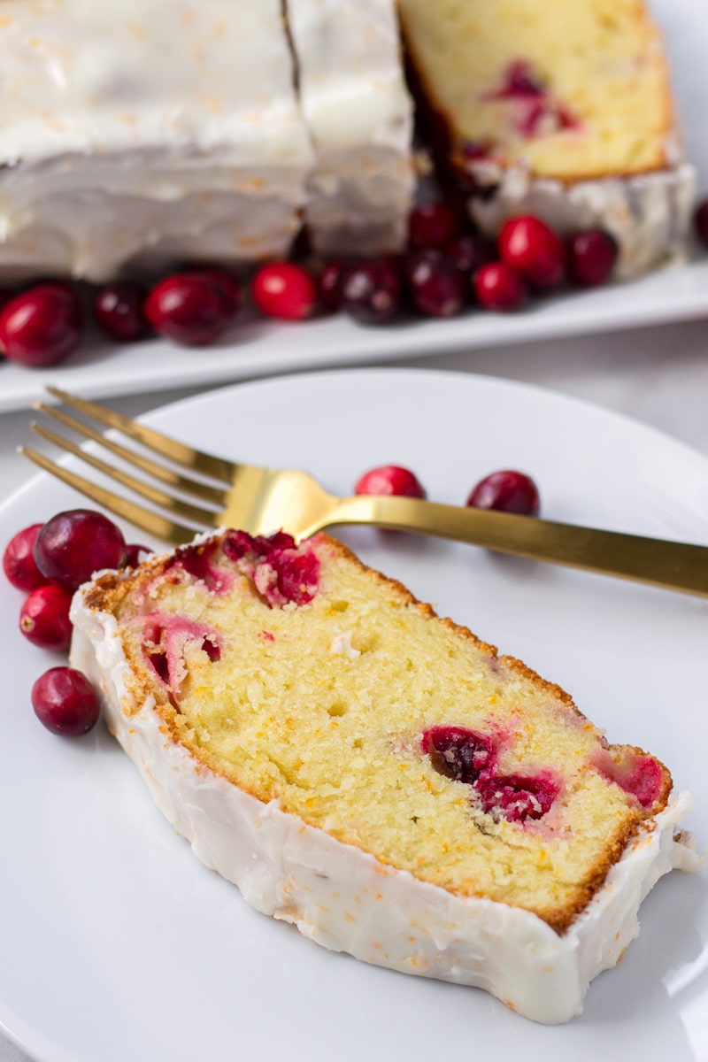 Slice of Cranberry Orange Pound Cake