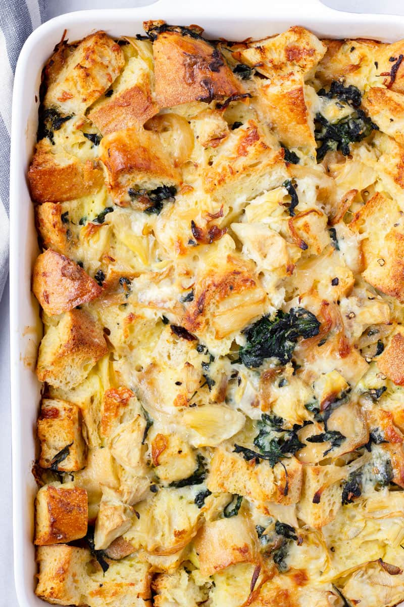 Strata with Spinach, Artichoke, and Caramelized Onions