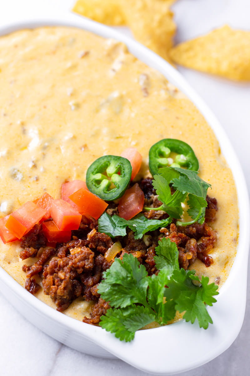 Queso Fundido Mexican Style on Oval Bowl