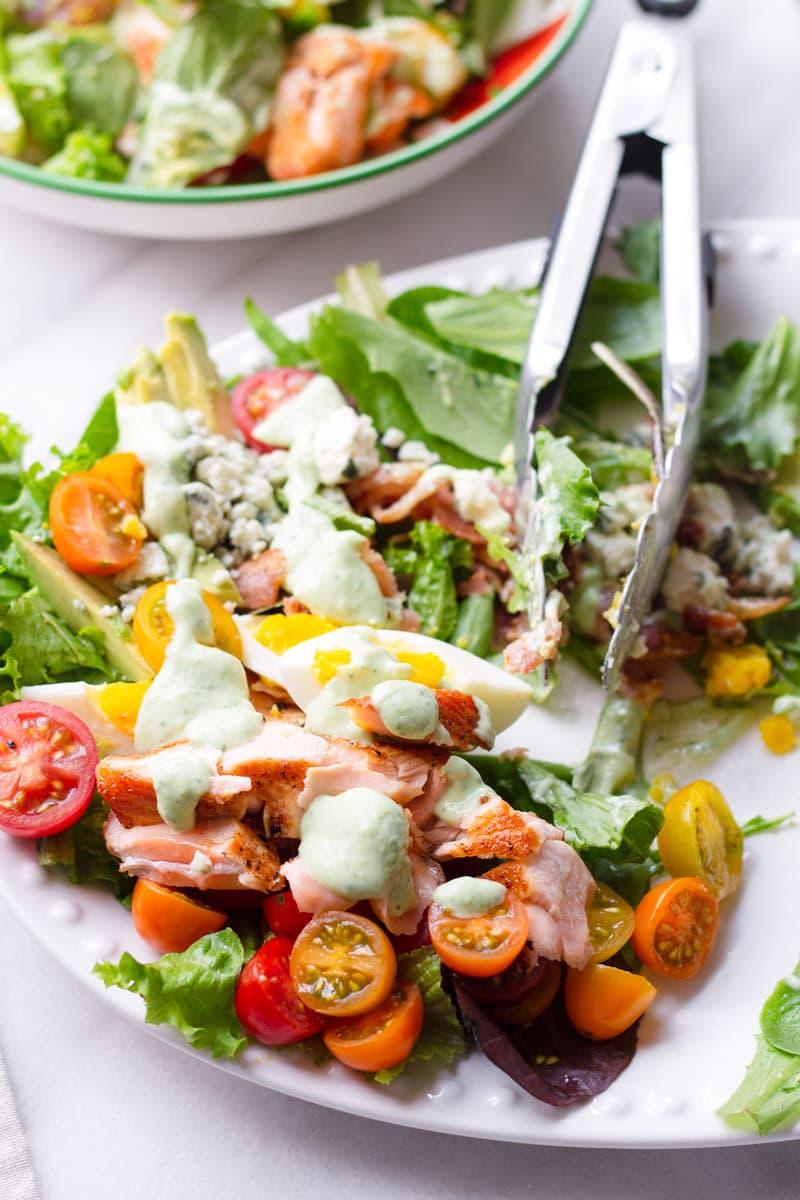 Salmon Cobb Salad with Avocado Green Goddess Dressing