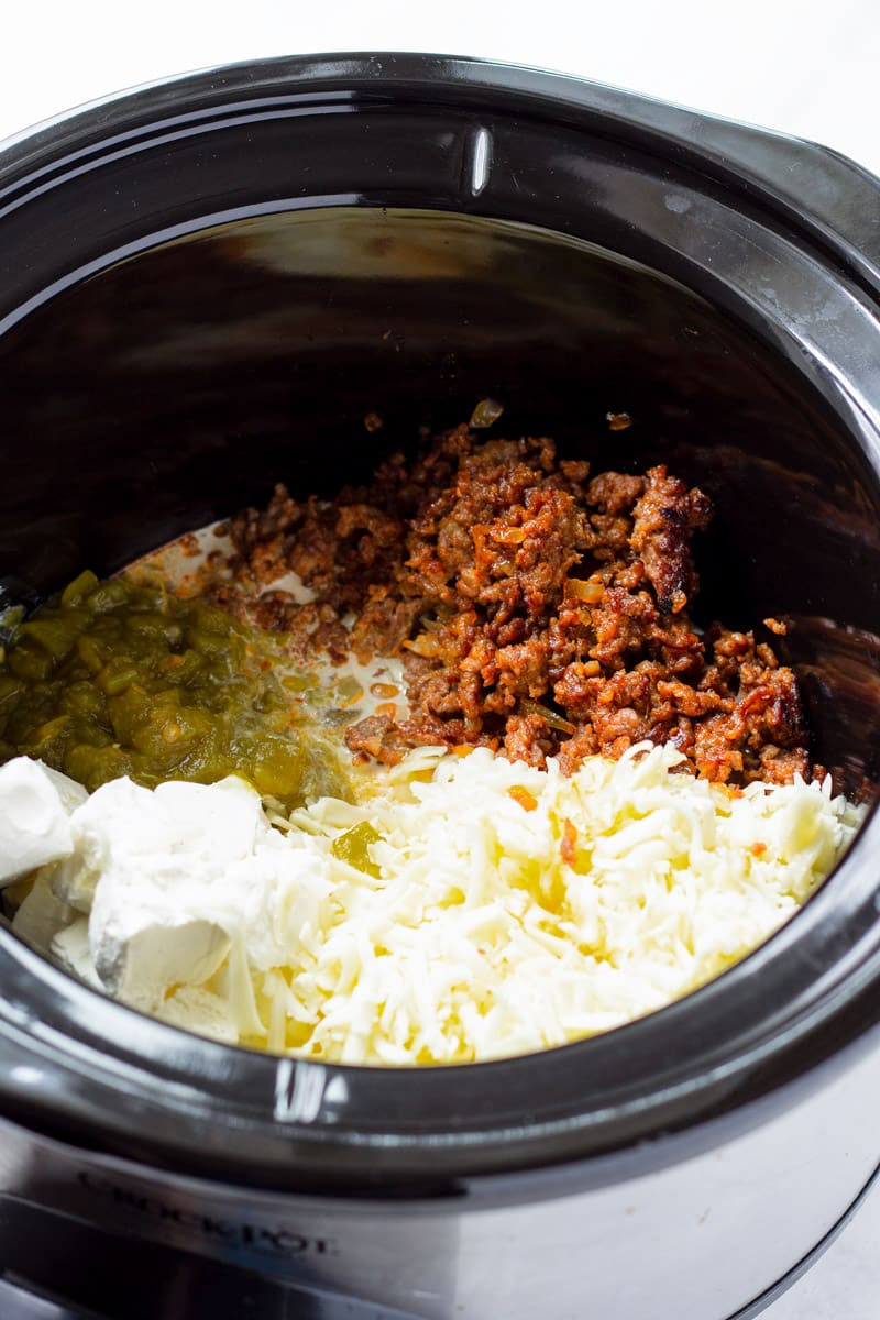Slow Cooker with Monterey Jack Cheese, Chorizo, Chiles, Cream Cheese