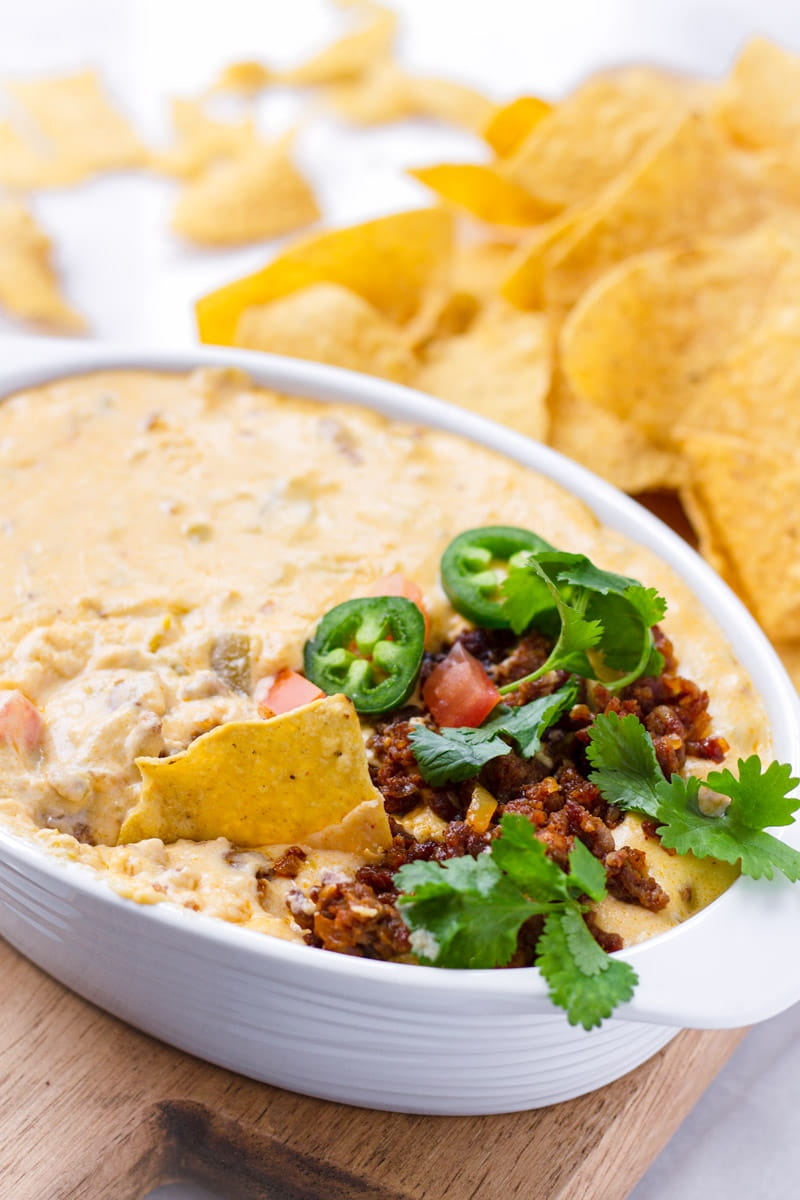 Melted Creamy Cheese with Jalapenos, Cilantro, Tomatoes, and Tortilla Chips