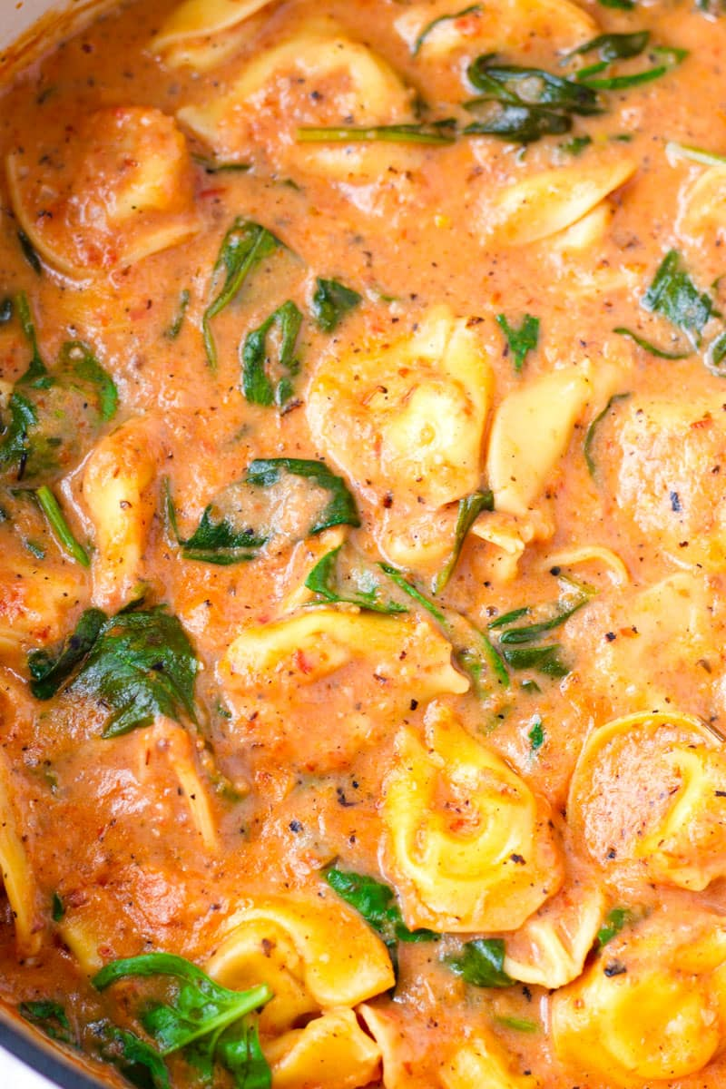 Close-up Shot of Tomato Tortellini Pasta Soup with Spinach