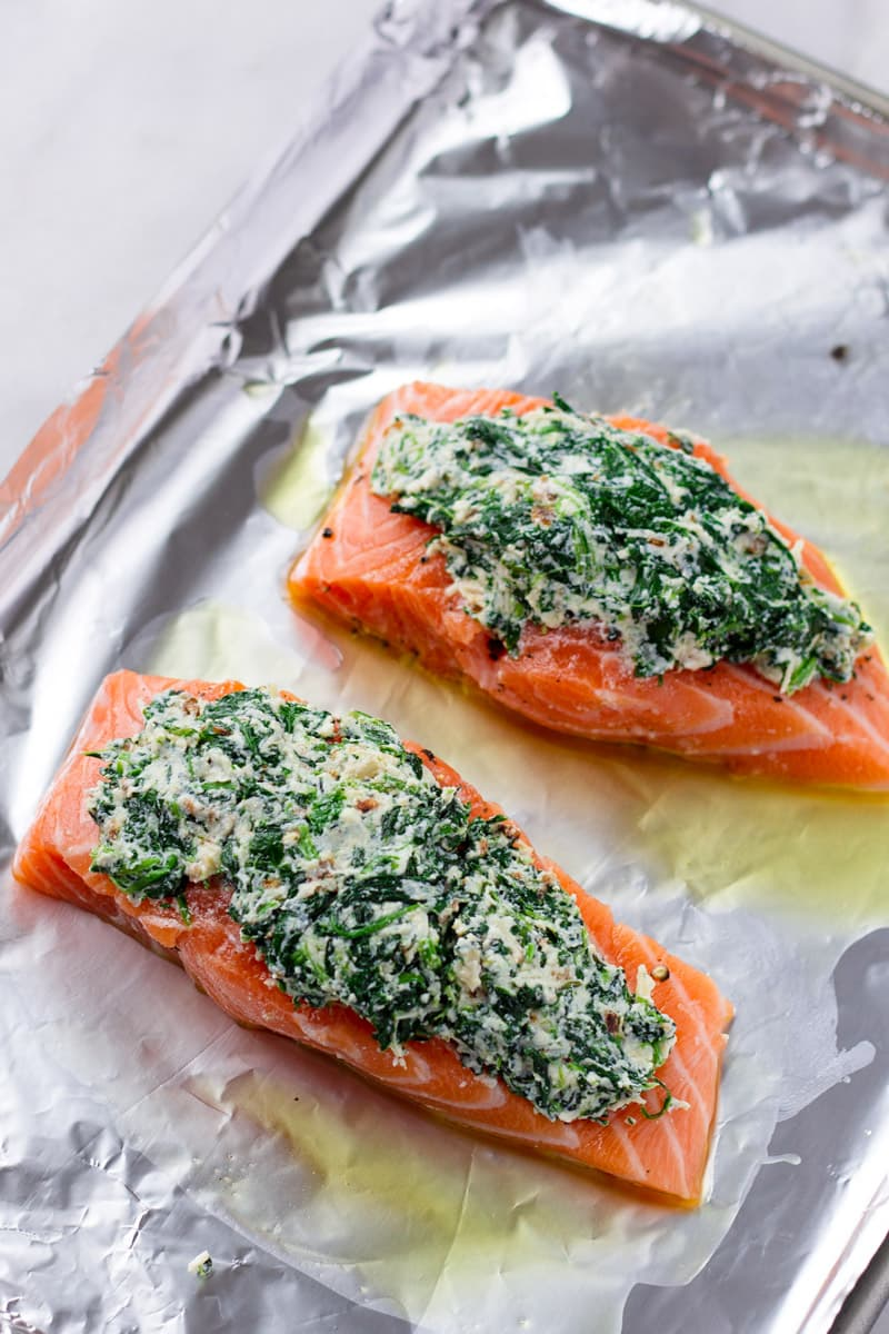 Stuffed Raw Salmon with Spinach and Ricotta on a Oiled Sheet Pan