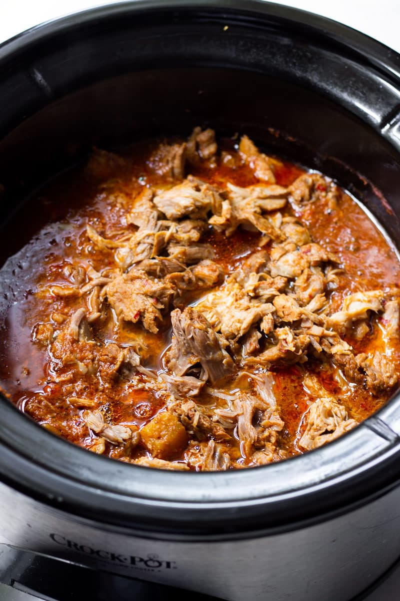Slow Cooker Al Pastor Shredded Pork in a Crock Pot
