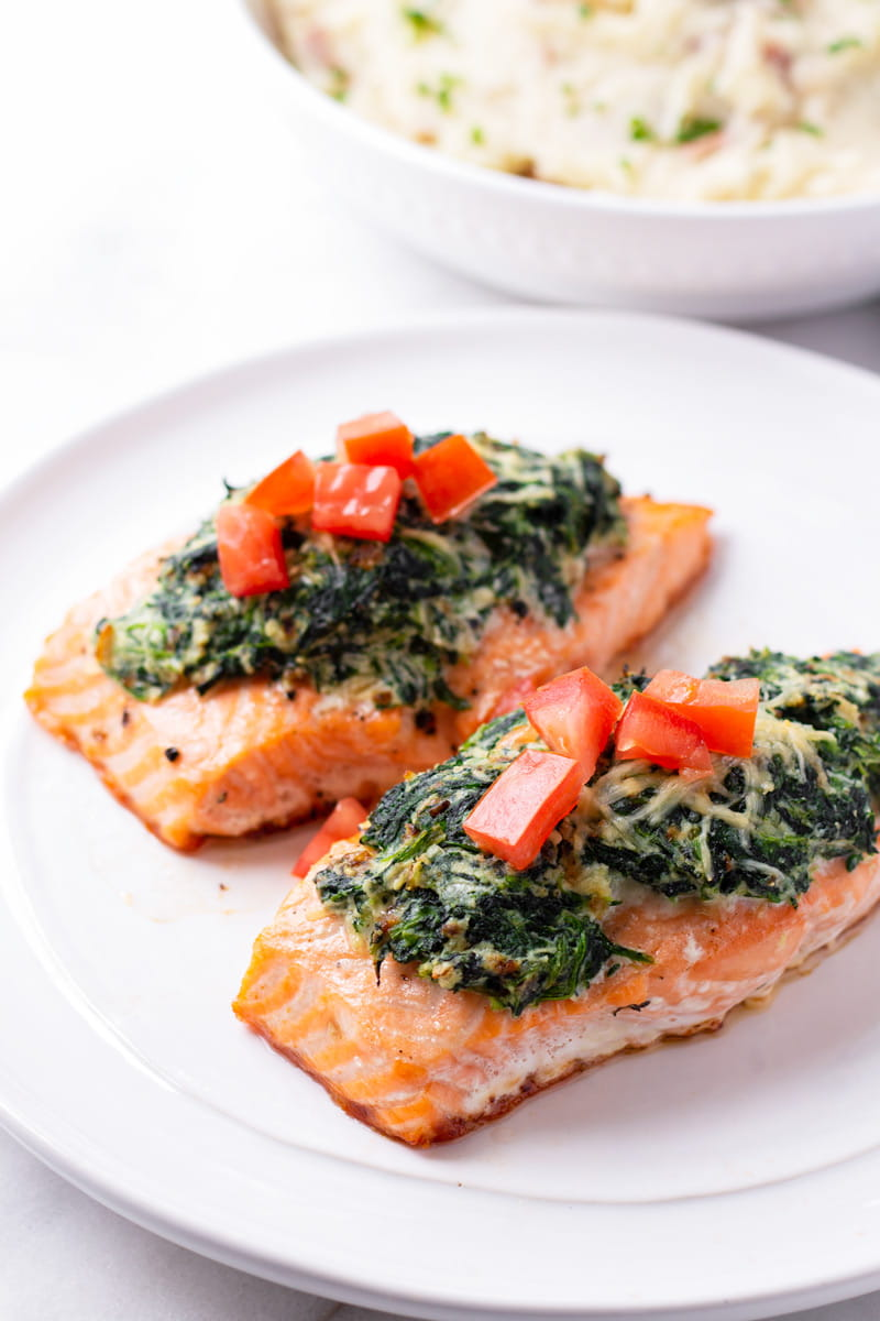 Two Fillets of Stuffed Salmon with Spinach and Ricotta