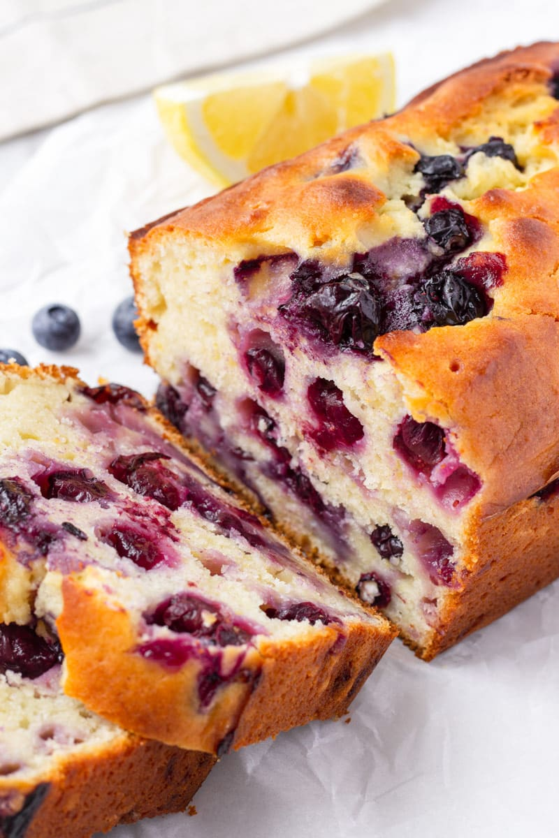 Sliced Loaf of Blueberry Lemon Bread