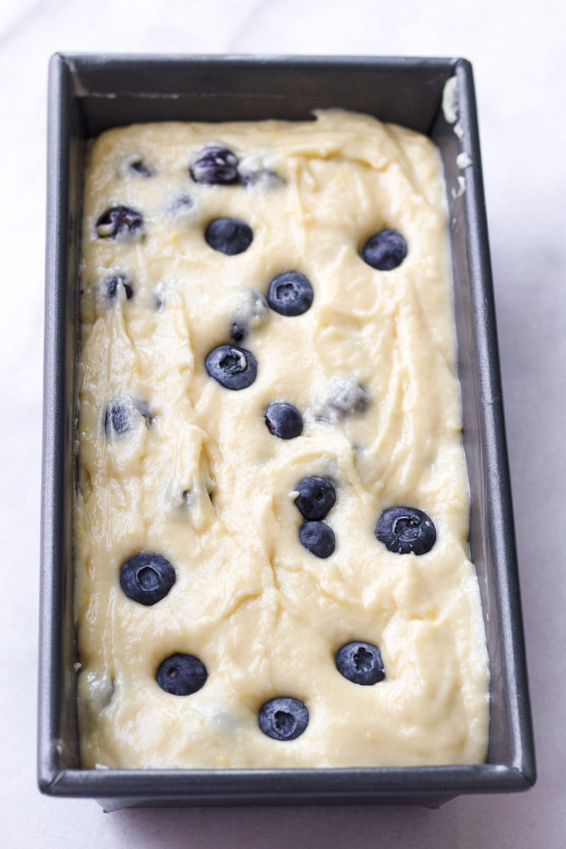 Quick Bread Batter Thick with Berries in Loaf Pan