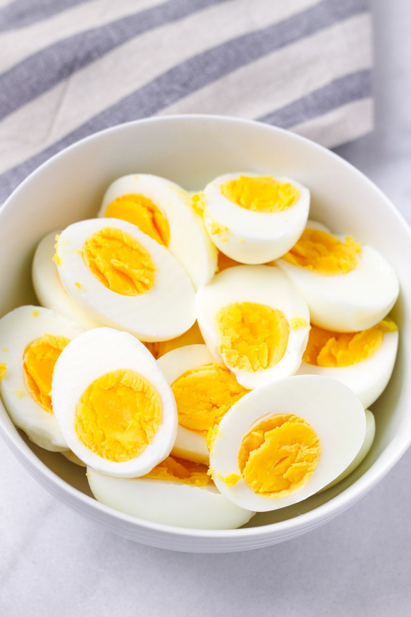 Bowl with sliced hard-boiled Eggs