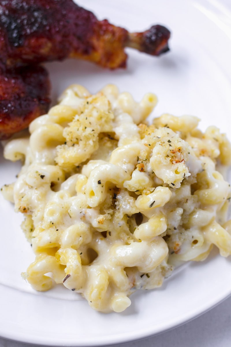 Plate with cheesy cavatappi pasta and bread crumbs