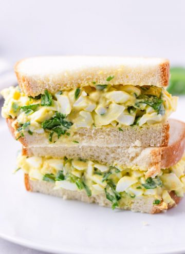 Egg Salad Sandwich Cut in Half and Stacked