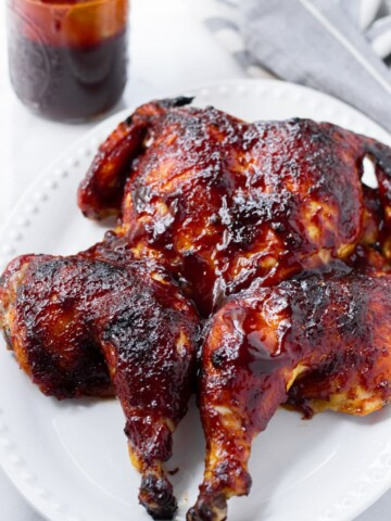 Roasted Spatchcocked Chicken with BBQ Sauce