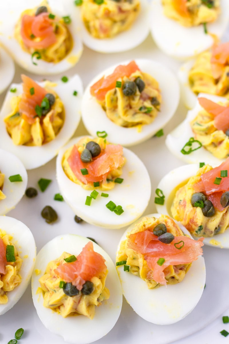 Smoked Salmon Deviled Eggs with Capers and Chives