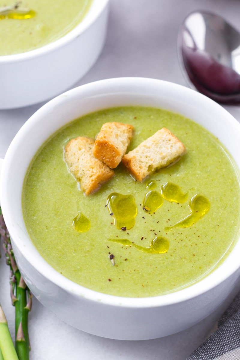 Garnished Creamy Asparagus Soup with Croutons