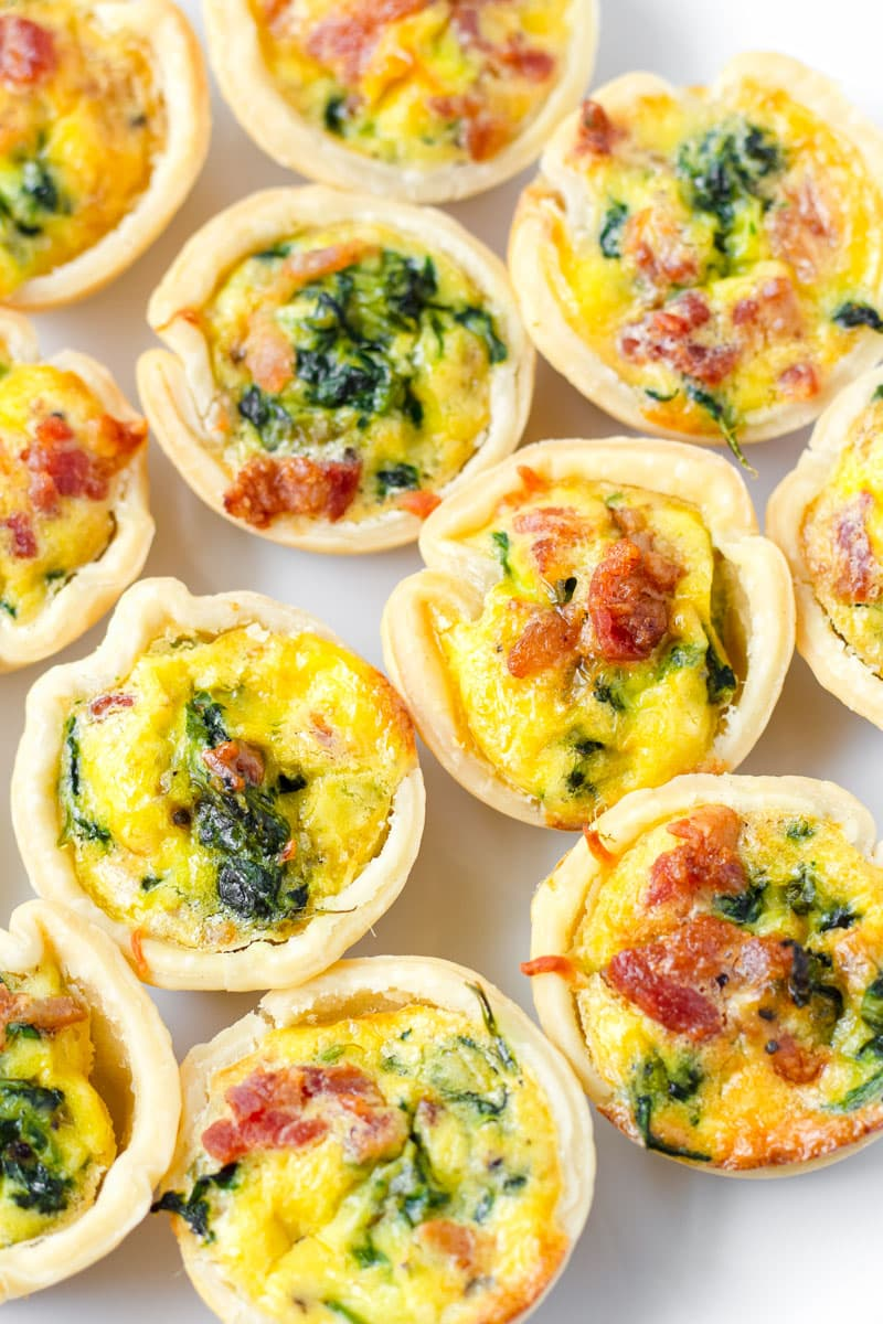 Mini Spinach Quiches with pie crust dough