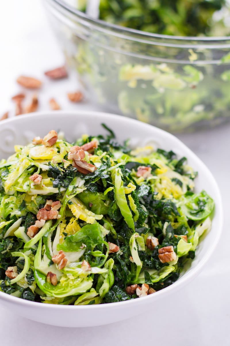 Freshly shaved brussels sprouts salad with kale and lemon dressing