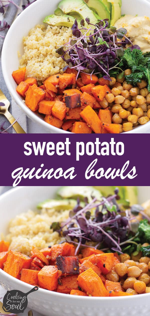 Pin image of sweet potato grain bowl