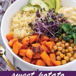 Pin image of sweet potato quinoa bowl