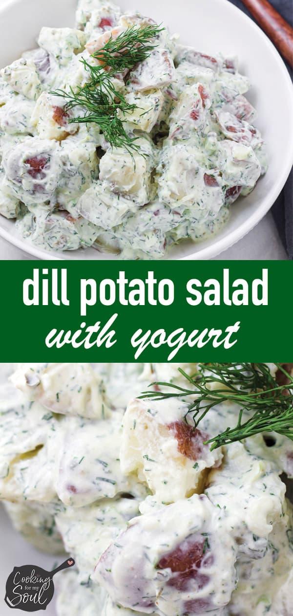 pin image design for dill potato salad