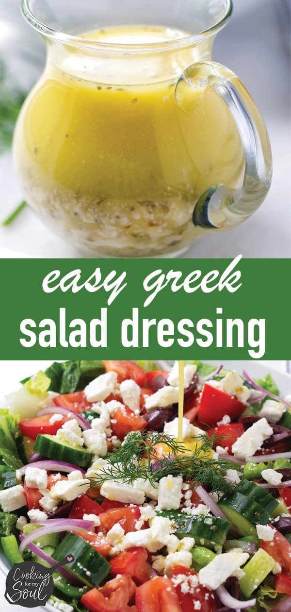 Pin image design for Greek salad dressing recipe