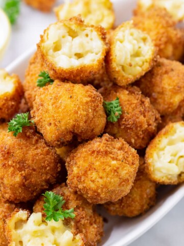 A pile of fried mac and cheese balls