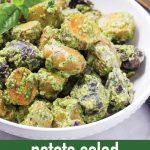 pin image for potato salad with pesto